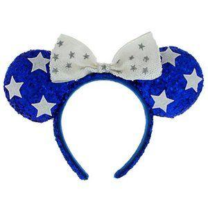 Disney Parks Blue White Sequin Stars Minnie Ears